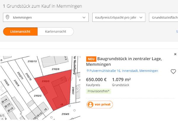 Baugrundstück in Memmingen