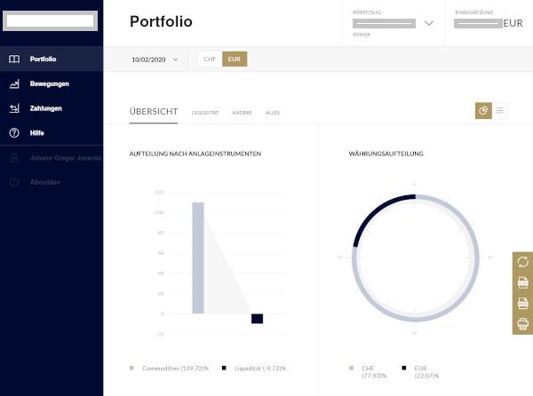 Bildschirmfoto aus der Loginseite vom E-Banking Liechtenstein