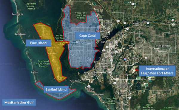 Satellitenkarte von Cape Coral, Pine Island mit dem Bau-Grundstück und Umgebung