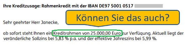 Rahmenkredit in Höhe von 25.000€
