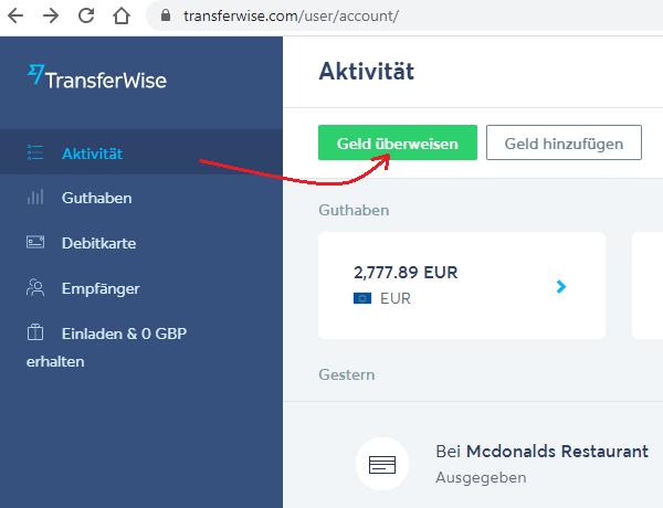 Echtzeit-Überweisung bei TransferWise starten