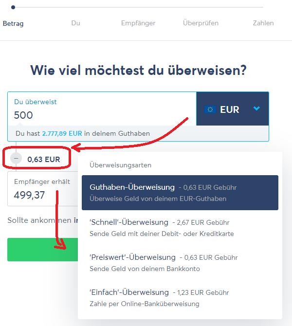 Echtzeit-Überweisung bei TransferWise