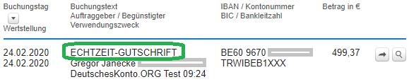 Echtzeit-Überweisung von TransferWise zur DKB