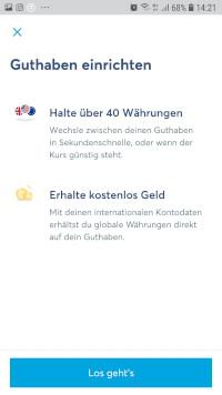 TransferWise Währungskonto