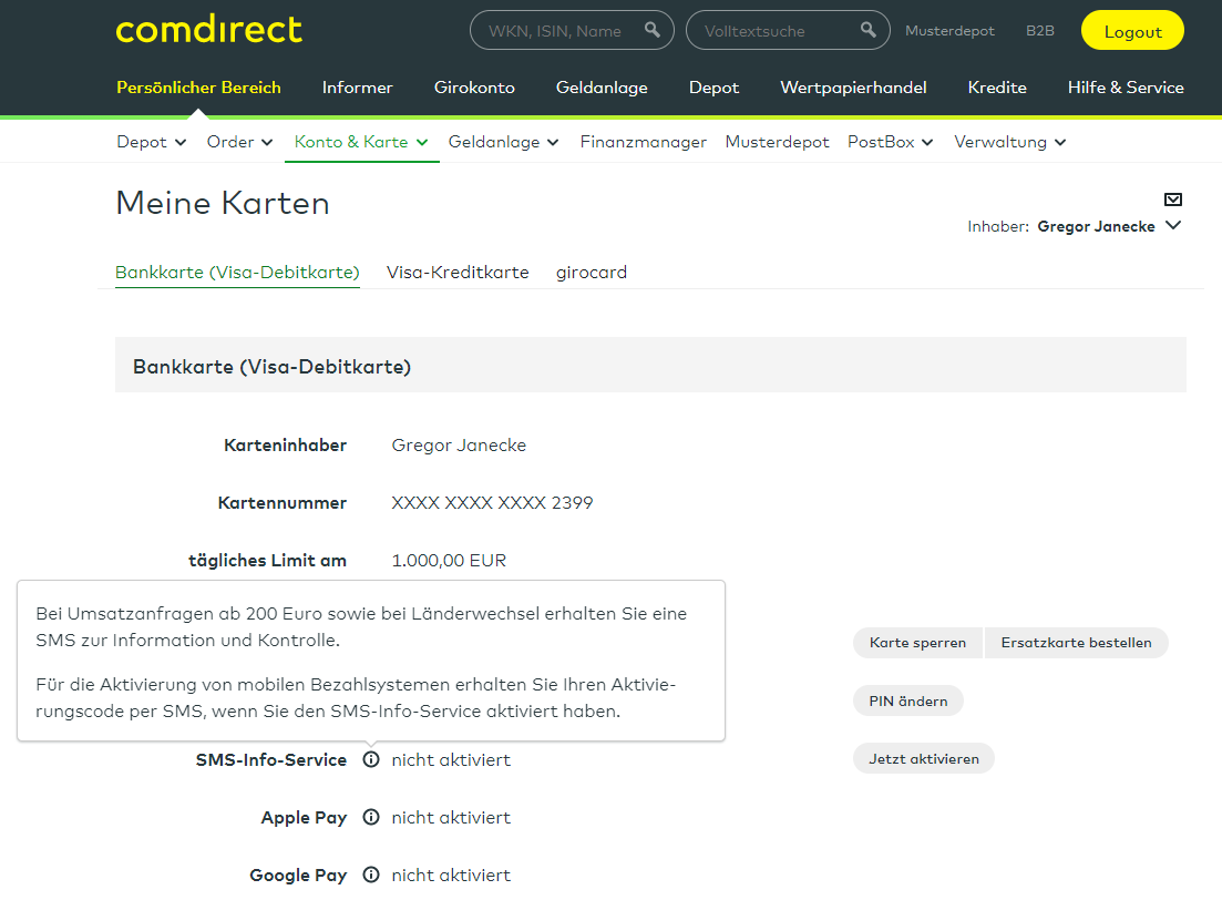 Comdirect SMS Infoservice
