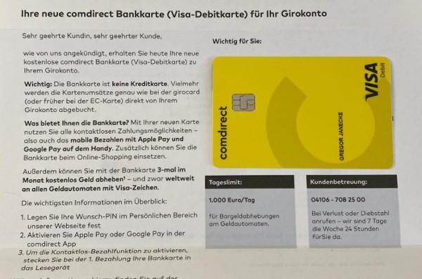 Comdirect Visa Debit Card kostenlos