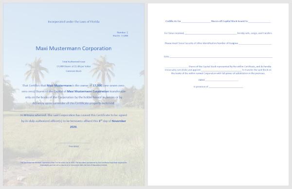 Corporation Certificate Florida