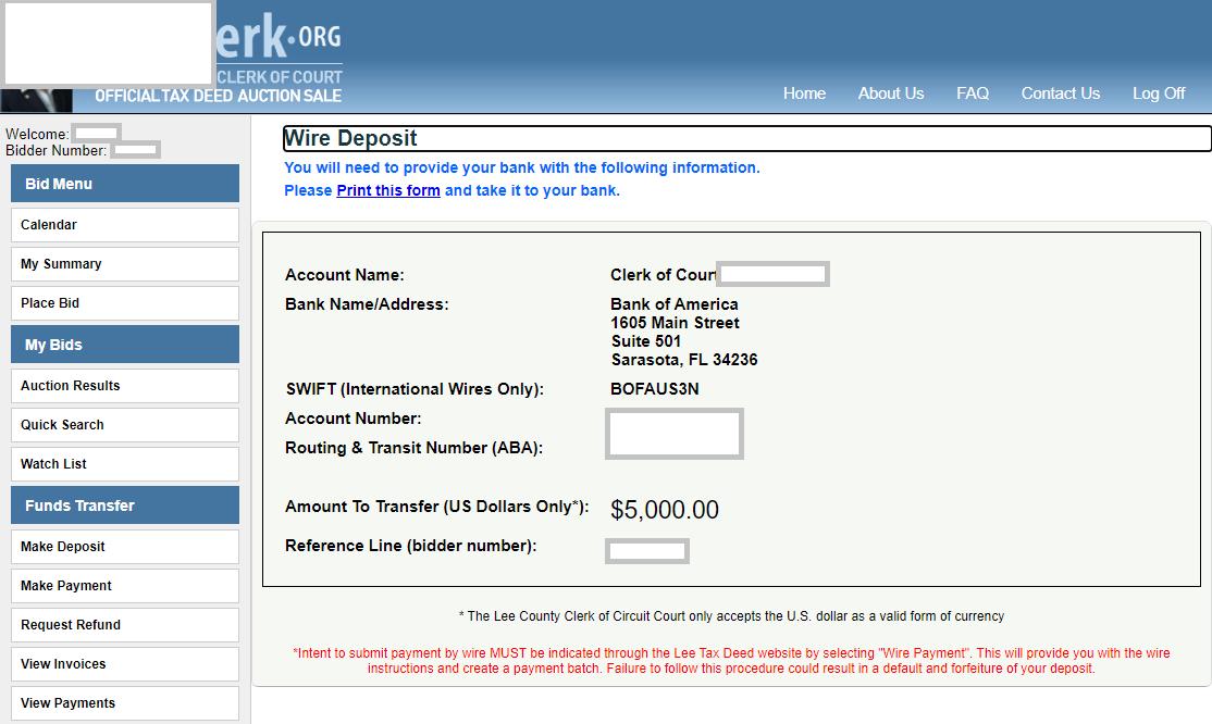 Kontoverbindung für Tax Deed Auction