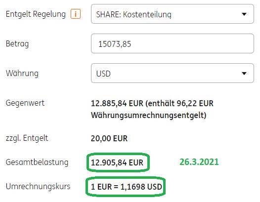 ING Deutschland Auslandsüberweisung