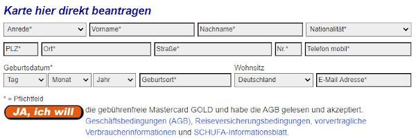 Mastercard Gold Antrag