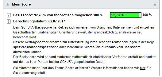 Schufa-Score vor 4 Jahren