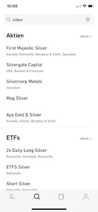Silber bei Trade Republic