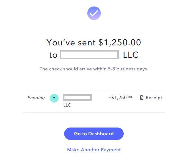 Scheckzahlung bestätigt USA