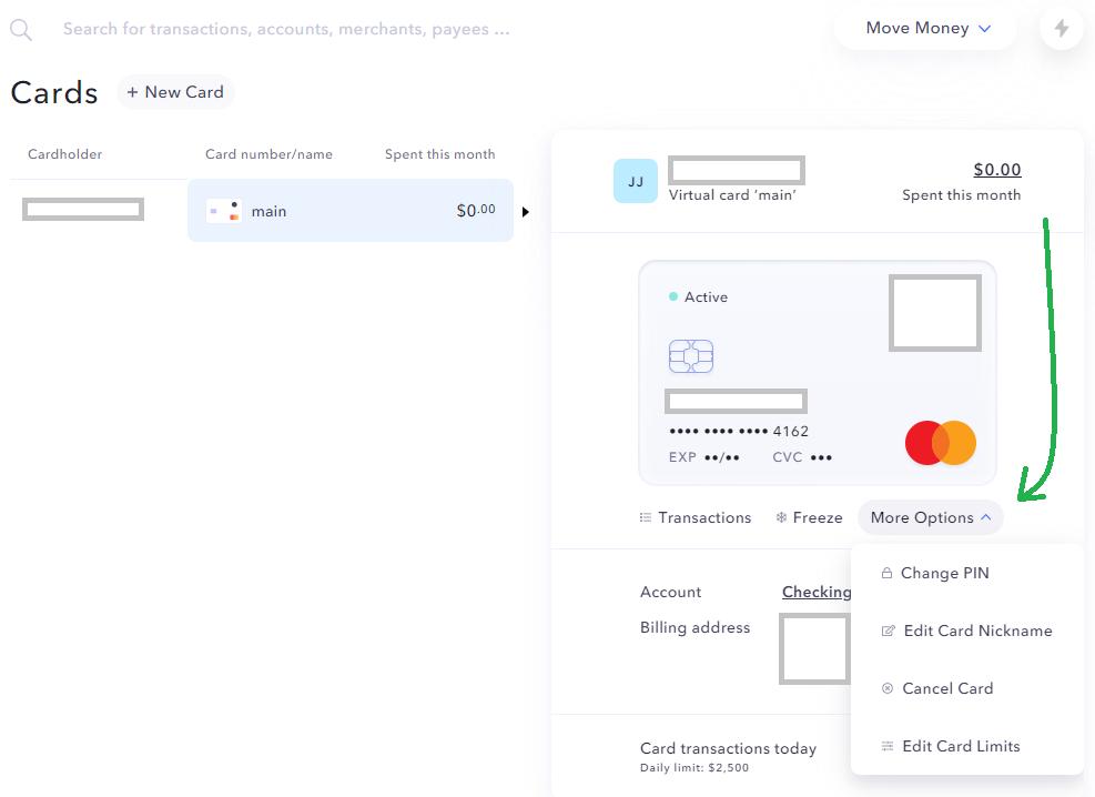 Kartendetails US-Kreditkarte