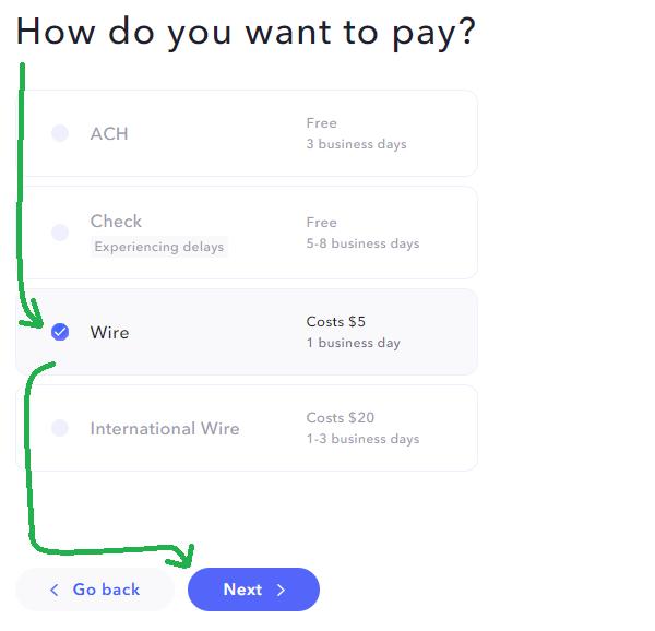 ACH, Check oder Wire?