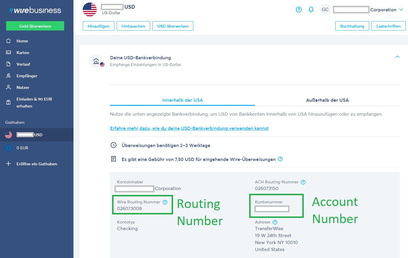 Wise Routing und Account Number