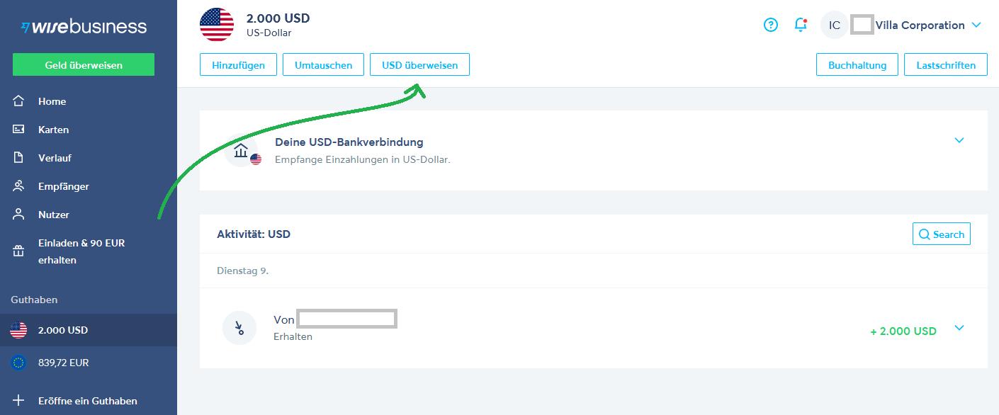 Überweisung in USD