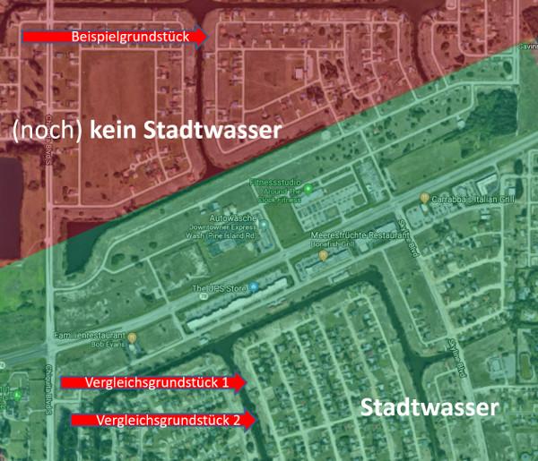 Vergleich von Baugrundstücken in Cape Coral mit und ohne Stadtwasser
