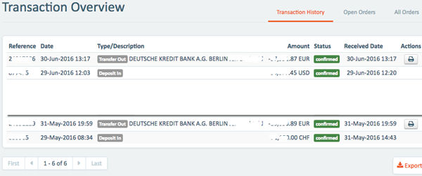Screenshot: Geldein- und Geldausgang CurrencyFair