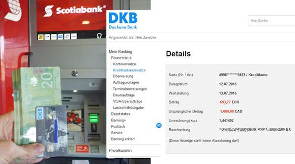 Kanada: Geld abheben bei der Scotiabank