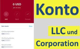 Konto für LLC und Corporation