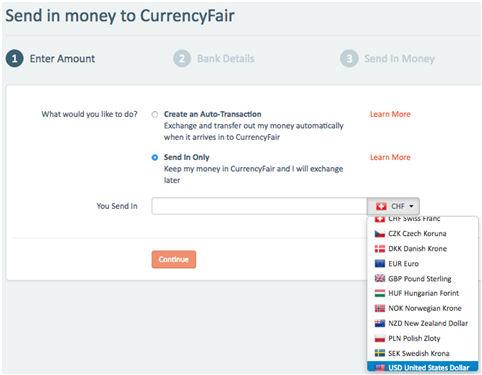 Geld zu CurrencyFair senden