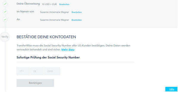 TransferWise Kontodaten