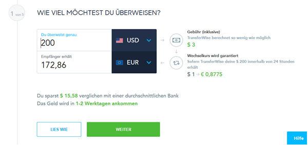 TransferWise Überweisung in Dollar