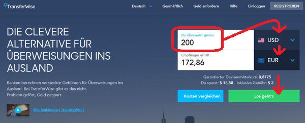 TransferWise USA–Deutschland