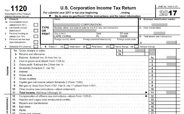 US Corporation Income Tax Return