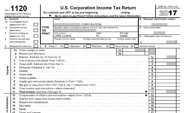 US Corporation Income Tax Return