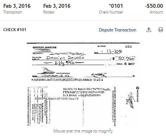 US-Scheck eingereicht