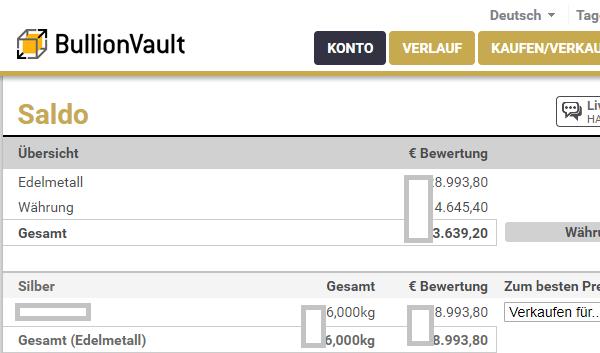 BullionVault Konto