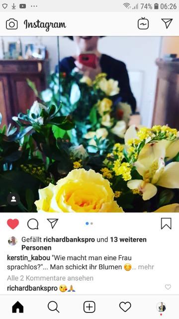 Blumen als Danke in Instagram