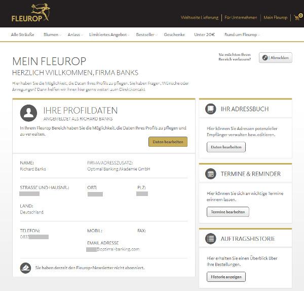 Fleurop Kundenkonto