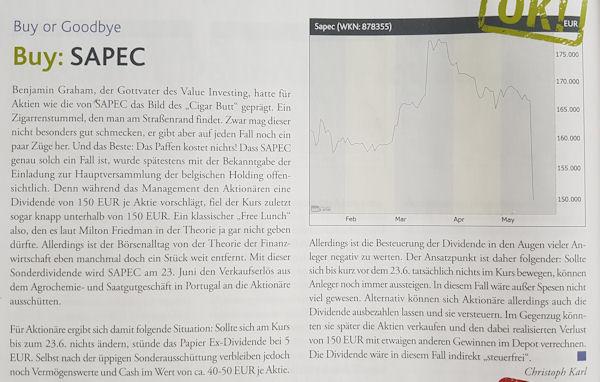 Sapec-Artikel im Smart Investor