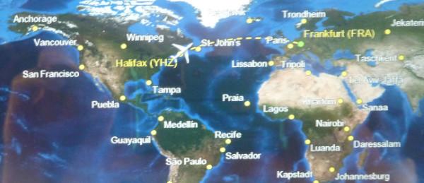 Karte: Condor-Flug von Halifax nach Frankfurt