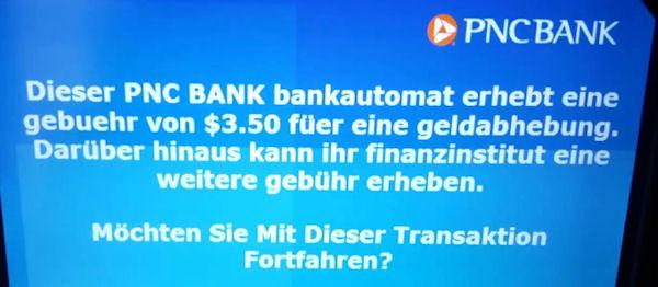 Warnmeldung beim Abheben von Geld im Ausland