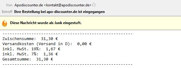 Rechnung von Apo-Discounter per E-Mail