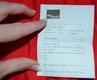 Quittung der AirBank über eine Bareinzahlung