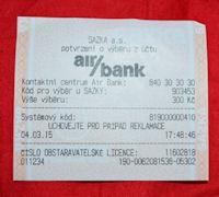 AirBank-Quittung für eine Auszahlung von Bargeld