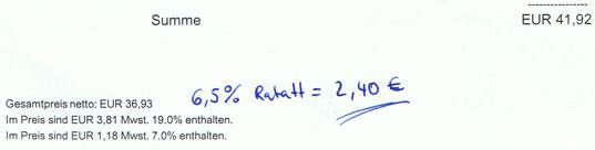 Rechnung von Apo-Rot.de (Ausschnitt) und Berechnung vom Online-Cashback