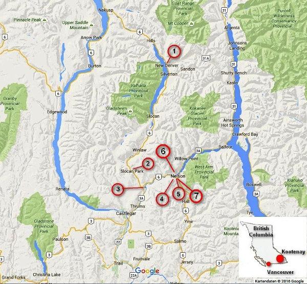 Karte von Geldautomaten (ATM) in West Kootenay und Slocan Valley, British Columbia, Kanada