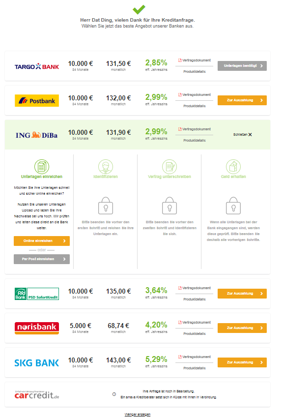 Autokredit bei der ING-DiBa über Smava