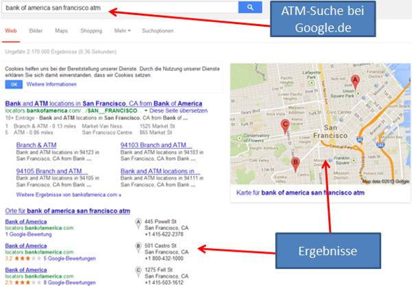 Bank of America ATM Suche