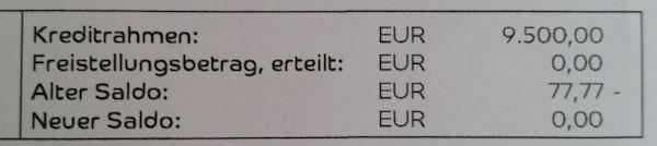 Kreditrahmen der Barclaycard