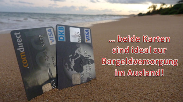 DKB und Comdirect Visa Card am Strand