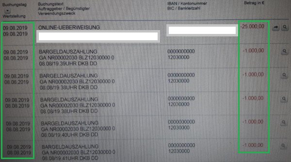 Bargeldauszahlung der DKB über 5.000 Euro am Tag