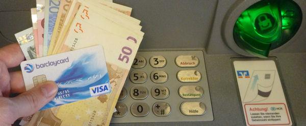 Bargeld am Geldautomaten abheben ist bei Barclaycard kostenlos