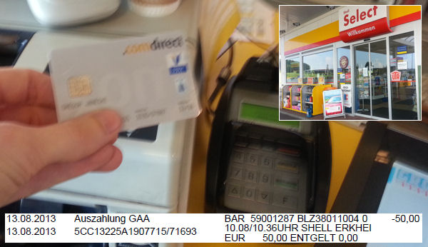 cash / withdrawal from comdirect checking at Shell